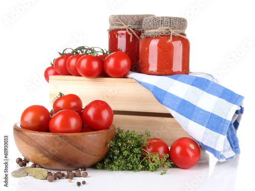 Tasty tomato sauce and fresh tomatoes, isolated on white