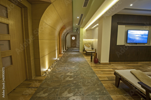 Corridor inside a luxury health spa
