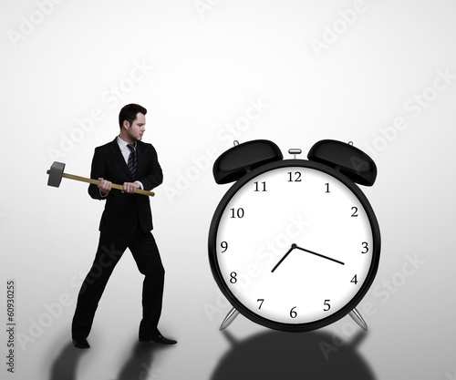 businessman breaks clock