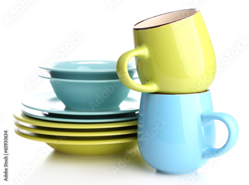 Clean colorful tableware isolated on white