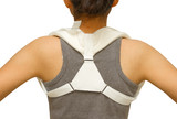 woman wearing clavicle brace for  immobilize shoulder ,clavicle