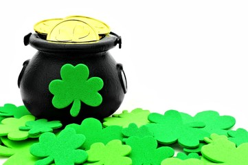 St Patricks Day Pot of Gold and shamrocks over white