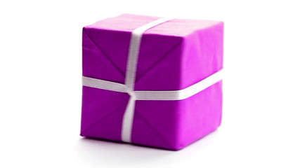 Gift box changing colors, rotating