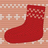 Red knitted sock on seamless pattern.