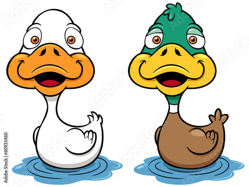 Vector illustration of Cartoon Duck