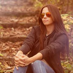 Young sensual fashion girl portrait - outdoors. Closeup