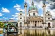 Famous Karlskirche (St. Charles's Church) in Vienna, Austria