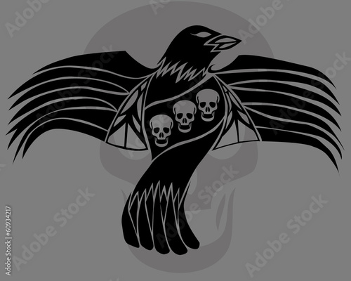 black death crow flying on skull background
