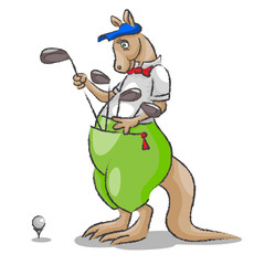 Kangaroo and golf