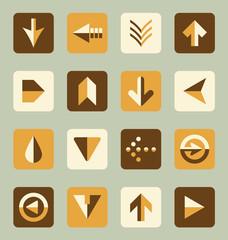 Vector Set: Flat Arrow Icons in Retro Color