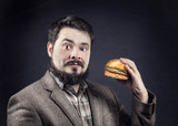 Man with hamburger