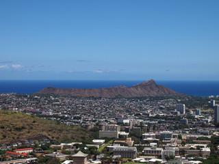 Diamondhead and the city of Honolulu of Oahu on a clear sky day