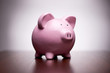 Pink piggy bank with vignetting