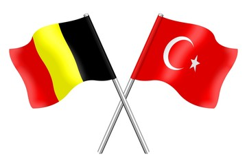 Flags : duet Belgium and Turkey