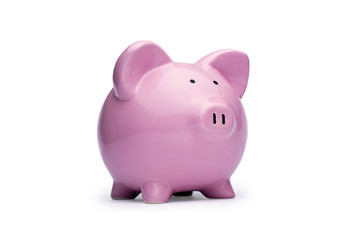Little pink piggy bank on white