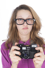 Young photographer with big glasses