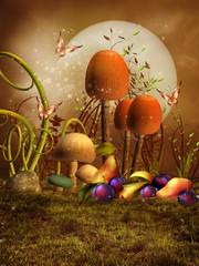 Łąka z kolorowymi grzybami, owocami i motylami