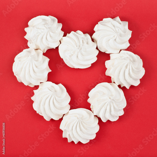 Eight meringue forming a shape of heart