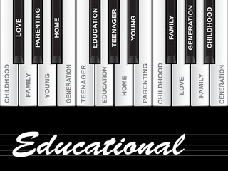 Conceptual piano word cloud