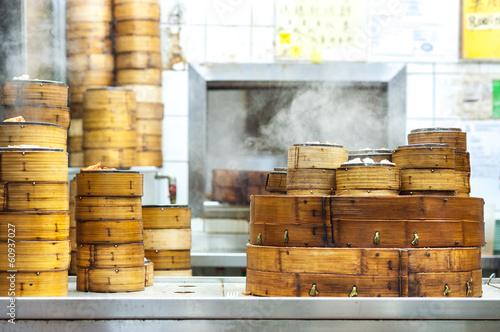 Deurstickers Hong-Kong Stacked dim sum steamers at a Hong Kong restaurant