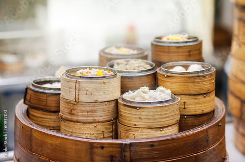 Staande foto Hong-Kong Dim sum steamers at a Chinese restaurant, Hong Kong