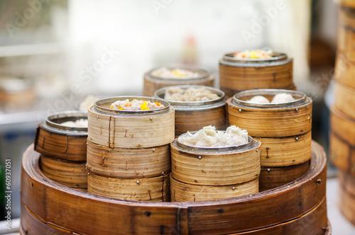 Plagát, Obraz Dim sum steamers at a Chinese restaurant, Hong Kong