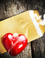 Valentine Card with Letter and Aromatic Candle
