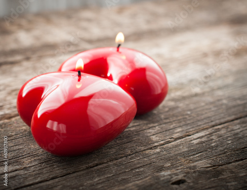 Red Candles Shining, on Wooden Table
