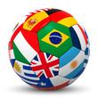 Fußball, 3D, International, Fahnen, Flaggen, Ball, Sport, Länder