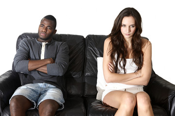 Angry couple emotions, multi ethnic man woman