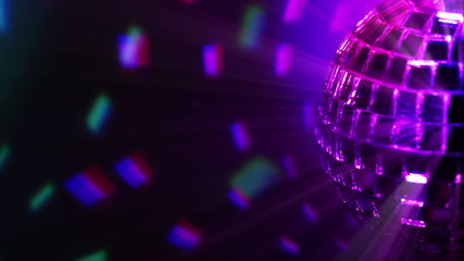 Colored dark background and disco ball