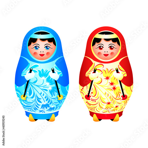 Colorful matryoshka dolsl ready for winter skiing