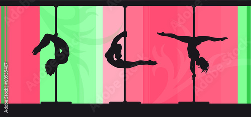 Silhouettes of pole dancers on abstract candy background