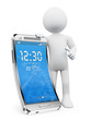 3D white people. New technologies. Flexible screen smartphone