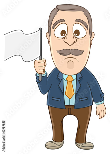 Businessman gives up and holding white flag on his hand