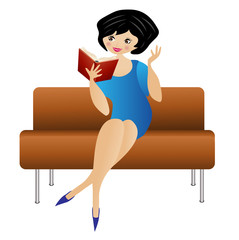woman sitting on a sofa reads a book