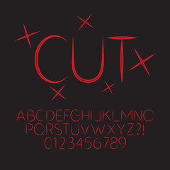 Abstract Red Cut Alphabet and Digit Vector