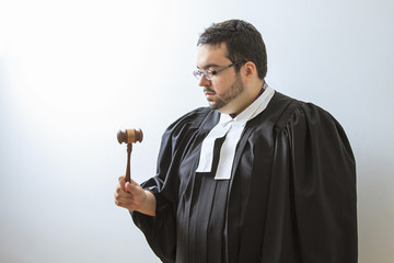 concentrating on the gavel