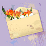 Violet card with grunge envelope and flowers
