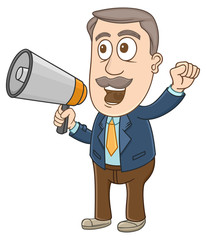Businessman shouting using megaphone on his hand
