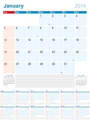 Calendar-Planner 2014 Sunday 01-12
