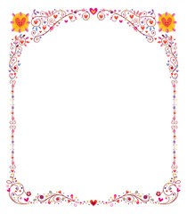 floral frame with hearts