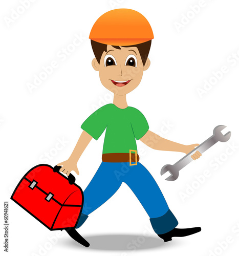 merry man builder with a gripsack and wrench in hands