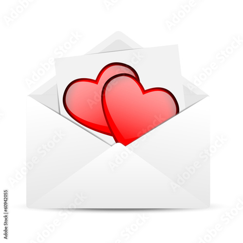 Envelope with hearts to the day of saint Valentin
