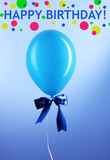 Blue one balloon on blue background