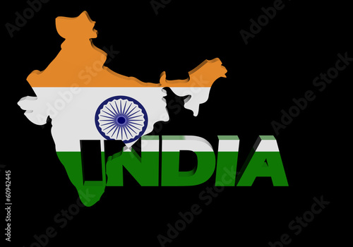 India map flag with overlapping text illustration