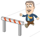 Businessman jump over the obstacle as a challenge