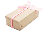 gift box with pink ribbon and label.
