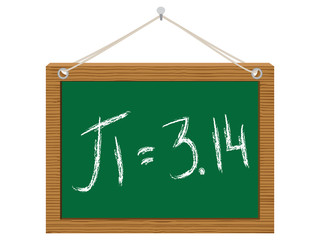number pi on green chalkboard