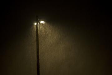 lamp post in snowstorm